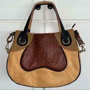 Black Rivet Multi Tone Brown Leather Shoulder Bag